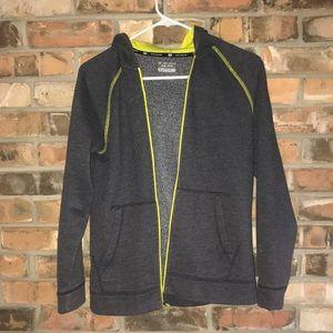 Boys Gray hooded sweatshirt with green trim GUC